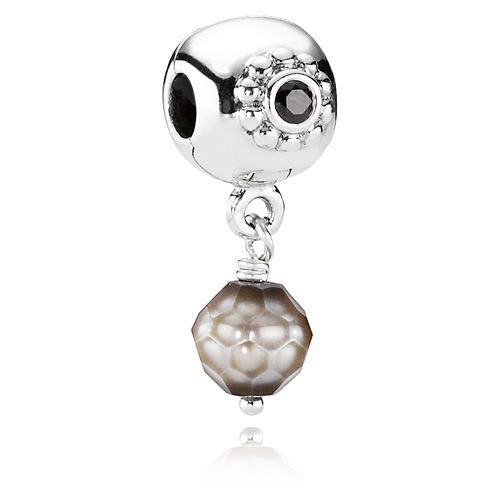 Pandora Grey Pearl Earrings: Retired PANDORA Grey Faceted Pearl Of Wisdom Dangle Clip