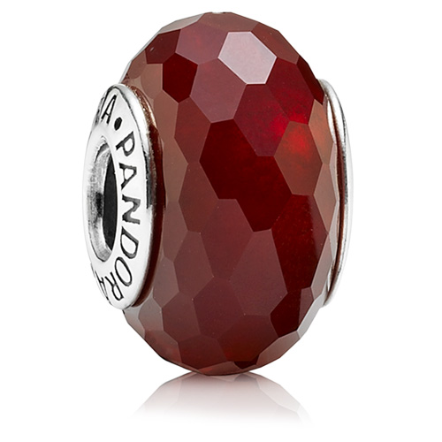 Pandora Jewelry Online Retailers: Retired PANDORA Red Fascinating Faceted Murano Charm