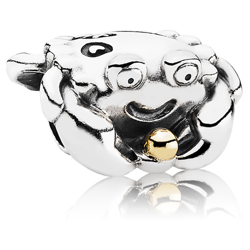 Pandora Jewelry St Louis: Retired PANDORA Happy Crab Charm :: 14K Gold & Sterling