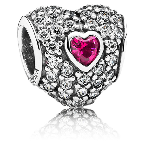 Pandora Jewelry Denmark: Retired PANDORA In My Heart Charm With Synthetic Ruby