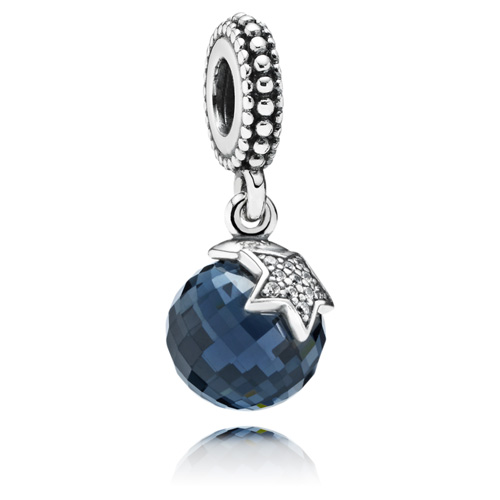 Pandora Jewelry Denmark: Retired PANDORA Moon And Star Dangle With Blue Crystal