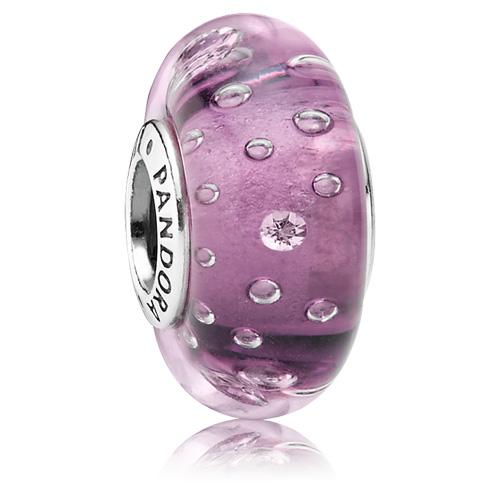 Pandora Jewelry Denmark: Retired PANDORA Purple Effervescence Glass Charm :: Murano