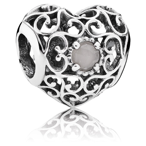 Pandora Moonstone Earrings: PANDORA June Signature Heart Charm