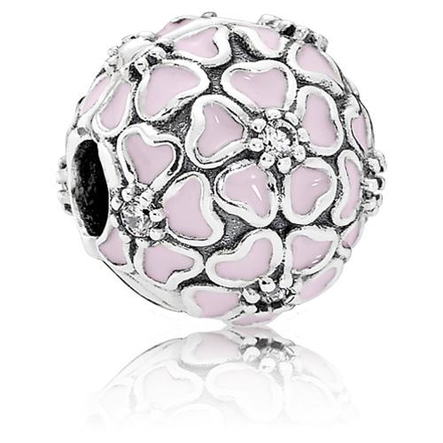 Retired Pandora Cherry Blossom Clip With Soft Pink Enamel