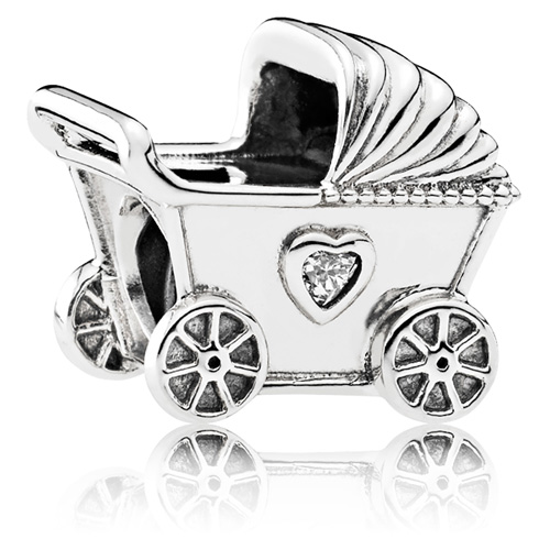 Pandora Baby Carriage With Zirconia Gems With Sterling