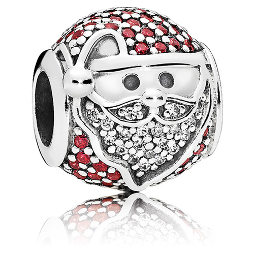 Sparkling Jolly Santa Charm from Pandora Jewelry.  Item: 796385CZR