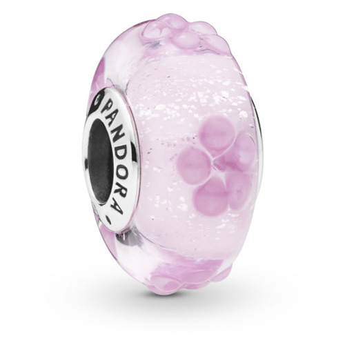 Pink Flower Murano Glass Charm