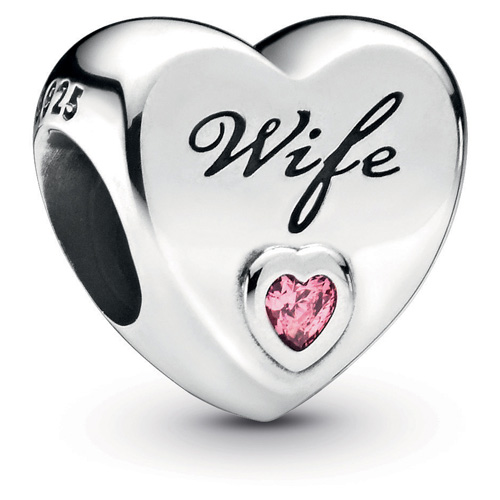 Wife Heart Charm with Pink Zirconia