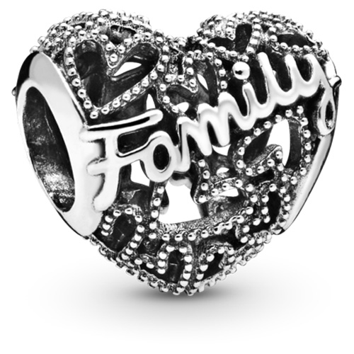 Pandora Family Heart Charm Sterling Silver Charms