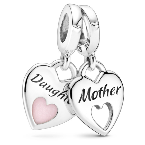Double Heart Mother Daughter Split Dangle