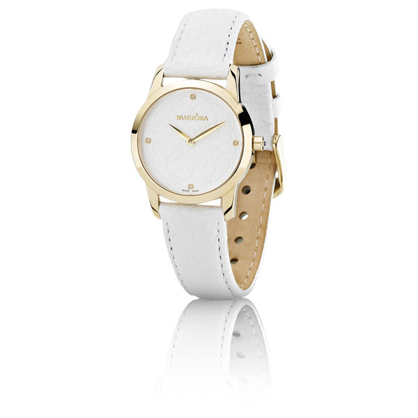 Retired Pandora 18k Gold Fleur Watch White Leather Strap