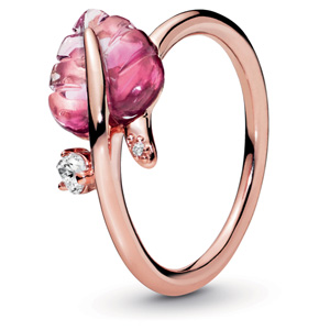 Pandora Rose Murano Glass Leaf Ring
