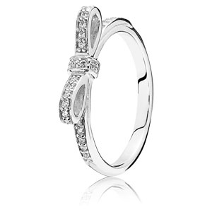 Sterling Silver Sparkling Bow Ring with Clear Zirconia