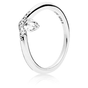 Silver Wishbone Ring with Clear Zirconia
