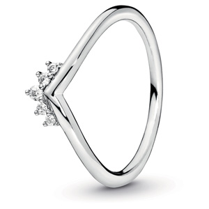 Silver Tiara Wishbone Ring