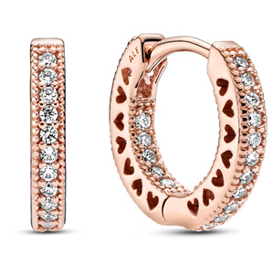 Pandora Rose ™ Pave Heart Hoop Earrings