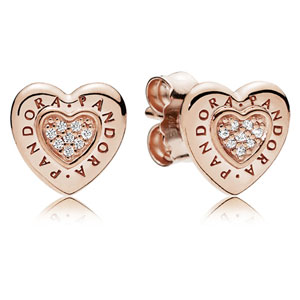 Pandora Rose ™ Signature Heart Stud Earrings