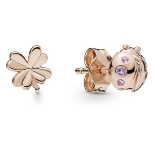 Pandora Rose ™ Four-Leaf Clover and Ladybug Stud Earrings