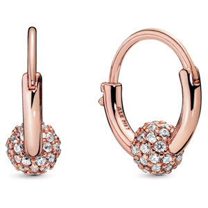 Pandora Rose ™ Pave Bead Hoop Earrings
