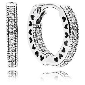 b4427aada PANDORA Small Hearts of PANDORA Hoop Earrings :: Earring Stories 296317CZ  :: Authorized Online Retailer