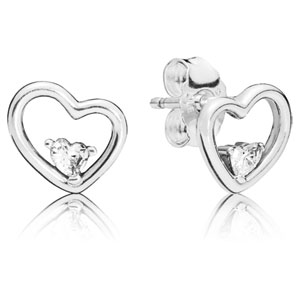 Asymmetric Hearts of Love Earrings with Zirconia