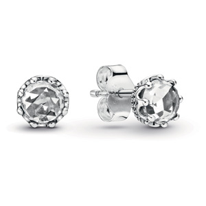 Clear Sparkling Crown Stud Earrings