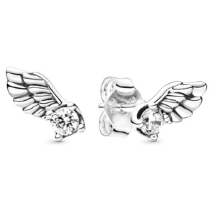 Sparkling Angel Wing Stud Earrings