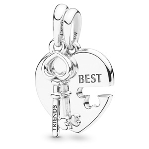 Best Friends Heart and Key Pendant