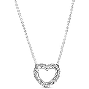 Snake Chain Pattern Open Heart Necklace
