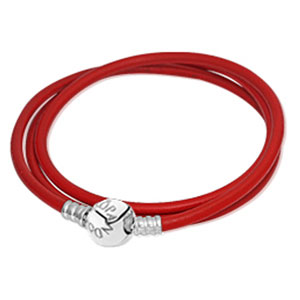 Energy Red Smooth Triple Leather Bracelet
