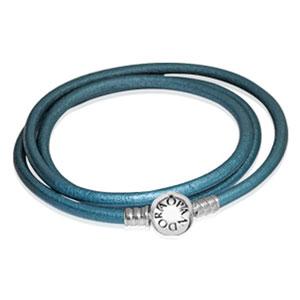 Balance Teal Smooth Triple Leather Bracelet