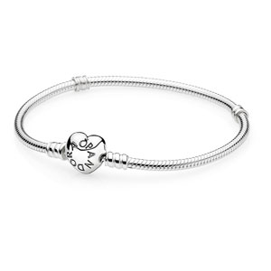 Sterling Silver Pandora Bracelet with Heart Clasp