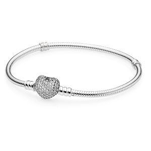 Sterling Silver Pandora Bracelet with Pave Heart Clasp