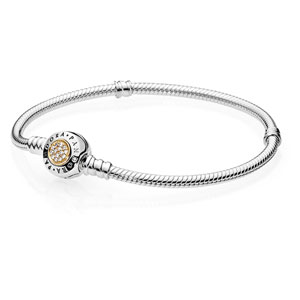 Sterling Silver Signature Bracelet With 14k Gold Clasp
