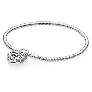 Smooth Pandora Bracelet with Regal Heart Clasp