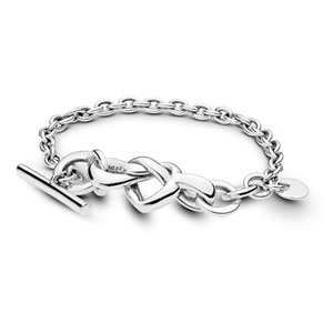 Knotted Hearts T-Bar Bracelet
