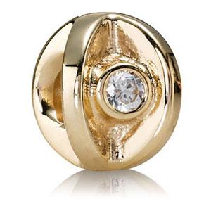 Retired Pandora 14k Gold Eye With Clear Cz Charm 14k