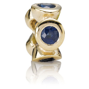 Retired Pandora 14k Gold Sapphire Lights Spacer Spacers