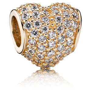 14K Gold Pave Heart Charm with Clear Zirconia