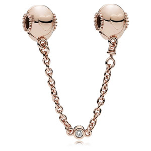 PANDORA Rose ™ Embossed Hearts Safety Chain Clip