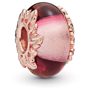 Pandora Rose ™ Pink Murano Glass and Leaves Charm