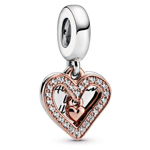 Pandora Rose™ Sparkling Freehand Heart Dangle