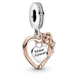Pandora Rose ™ Heart and Rose Flower Dangle