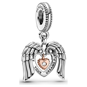 Pandora Rose ™ 2021 Club Angel Wings and Heart Dangle