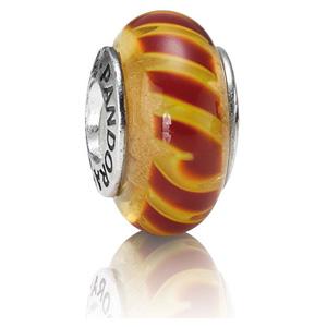 Retired Pandora Red Orange Stripe Charm Murano Glass