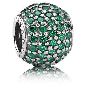 pandora emerald green pave lights charm gems with