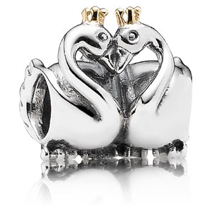 740c98dfa Retired Pandora Swan Embrace Charm :: 14K Gold & Sterling Silver 791189 ::  Authorized Online Retailer