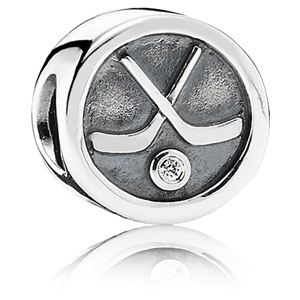 Retired PANDORA Hockey Puck Charm    Gems with Sterling Silver 791203CZ     Authorized Online Retailer b1a2d99401d