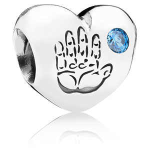 Baby Boy Heart Charm with Blue Zirconia
