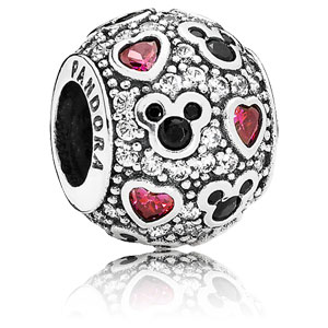 Disney Mickey and Hearts Zirconia Charm